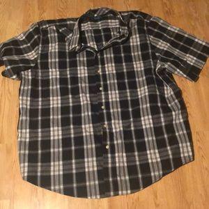 3X Black/White Plaid Button Down Puritan Men's
